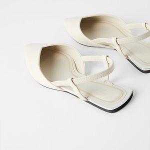 Zara Flats With Open Back and Metallic Edge